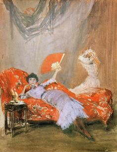 """""""Milly Finch - James McNeill Whistler, 1884. Watercolour"""" Orange, Whistler and watercolour, how can I resist? S"""