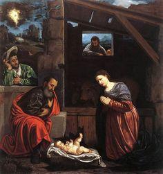 Giovan Girolamo Savoldo, Nativity, 1540, The template for most traditional  nativity scenes.