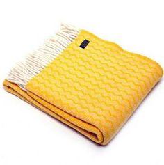 Zig Zag Design Wool Blanket / Throw - Yellow