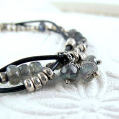 Intertwined Leather and Silver Bracelet with Labradorite~<3