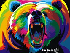 Bear - colorful vector digital art