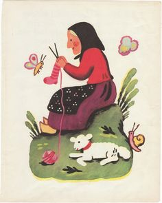 Charming vintage print of a lamb and mother from Francoise Seignoboscs 1951 book Jeanne Marie Counts Her Sheep. Lovely bold colors of the house with Jeanne Maries mother knitting a sock. Dont miss Mothers polkadot apron and the snail in the background! This delightful book was awarded Book of the Year in 1951 by the American Institute of Graphic Arts.    Size: w 7 1/2 x h 9 3/4  Source: Jeanne Marie Counts Her Sheep by Francoise Seignbosc This is the original page from the discarded book, no…