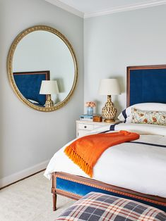 Sleek Master Bedroom with Upholstered Bed Bedroom Transitional by Denise McGaha Interiors