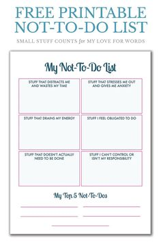 Printable Guided Journal Pages — Christie Zimmer Drowning in things to do? This not to do list is a really good idea for being more intentional with my time and selective about what I do. Great way to figure out what to say no to. Therapy Worksheets, Therapy Activities, Journal Prompts, Journal Pages, Journals, Pag Web, Burn Out, Therapy Tools, Coping Skills