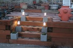 Camp Wander: .98 cent Cement Blocks for Your Solar Patio Lights - Winning!