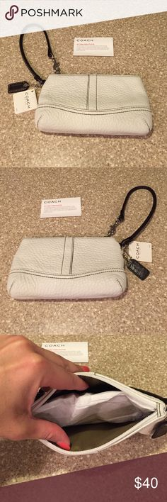 HP!NWT Coach Wristlet 10/24/16 NWT Coach Wristlet. Color is white with brown strap, logo & stitching. Silver tone hardware. Inside lined in like a tan with no inside pockets. For reference my iPhone 6 can fit in there room left for small items. Great for everyday, errands, travel or throw in diaper bag. Pebble leather. NO TRADES. Coach Bags Clutches & Wristlets