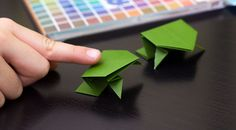 How to fold a super easy origami frog for kids! It even jumps!