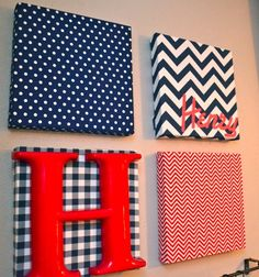 DIY Art Canvas: Mixed Media...love all the bold patterns, just without blue and red