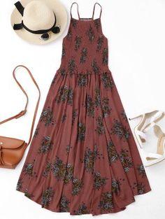 Floral A-Line Smocked Midi Dress - Floral