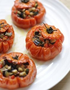 Provençal-style Stuffed Tomatoes with Marinated Anchovies, Olives, Capers and Eggplant (grain-free, breadcrumb-free, dairy-free, legume-free, sub coconut oil for butter)