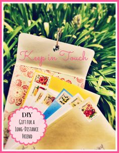 DIY gift for long distance friend. Send an envelope of pre-stamped cards to keep in touch!