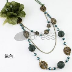 Green Seed Pearl   corsage   ABS   line ball three layers necklace