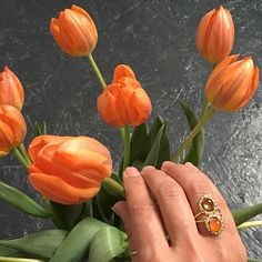 Go Dutch or go home. #orange #NL #travel #work #jewelry #ring #gold #tulip…