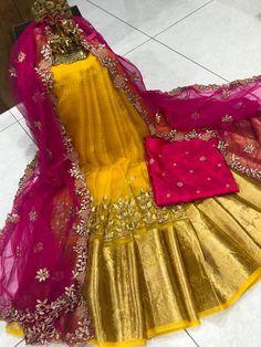 Half Saree Lehenga, Lehenga Saree Design, Lehenga Designs, Saree Dress, Designer Anarkali Dresses, Designer Bridal Lehenga, Designer Party Wear Dresses, Stylish Dresses For Girls, Frocks For Girls