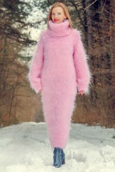 Pink-hand-knitted-sweater-slouchy-long-dress-extra-fuzzy-on-sale-by-SUPERTANYA