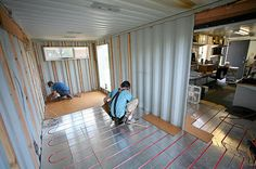 Shipping Container Homes. How to DIY own home. Add floor heat with tubes.