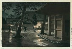 'Sengakuji Temple at Takanawa in Tokyo' by Tsuchiya Koitsu (1870-1949), 1933.  This stunning nighttime scene features a woman carrying an umbrella, and her child carrying a lantern through the gentle rain.  Another figure is silhouetted in warm light at the door of the temple, which causes bright reflections on the cobbled street and the bark of the tree in the foreground. The detail is fascinating, and there is a subtle passage in black and dark red under the roof in the foreground.