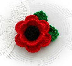 Crochet Brooch Red Poppy Flower Corsage Brooch by Crafts by Sigita. Crochet Brooch, Crochet Motif, Hand Crochet, Crochet Flower Patterns, Crochet Flowers, Crochet Ideas, Knitted Poppies, Crochet Poppy, Remembrance Day Poppy
