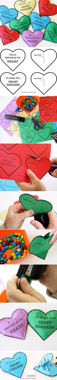 "Simple, easy Valentine pockets. ""You're a heart breaker"" theme. Tear up paper to get to candy."