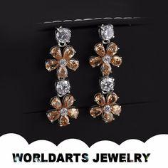 2015 Elegant Aolly Yellow Zircon Flower Drop Earring, View earring, Worldarts jewelry Product Details from Dongguan Worldarts Jewellery Manufactory on Alibaba.com