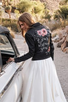 Hand-painted especially for BHLDN, this genuine leather jacket with its sweet saying and a pop of floral is perfect for engagement shoots or as an unexpected rehearsal add-on. Online exclusive Only available at BHLDN Wedding Trends, Wedding Styles, Wedding Ideas, Wedding Planning, Wedding Dj, Bouquet Wedding, Wedding Makeup, Elegant Wedding, Rustic Wedding