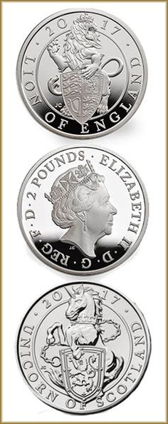 'The Queen's Beasts' coin collection,featuring the regal unicorn of Scotland, &Lion of England. Two of the ten beasts that symbolically guarded the entrance to Her Majesty The Queen's coronation in 1953. They appear on the British coat of arms, alongside the Lion of England. The origins of heraldry can be traced back to the middle of the twelfth century, when knights painted their shields and the coats they wore over their armour to recognise 'friend or foe' on the battlefield.
