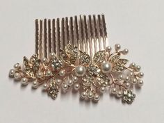 Beautiful-Vintage-Style-Crystal-amp-Pearls-Rose-Gold-Bridal-Hair-Comb