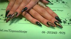Black and snake nails