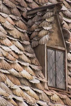 "Detail of the ""Shell House"".  Location of Shell Cottage is  Outskirts of Tinworth, Cornwall, England."