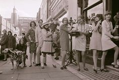 Cilla Black and Kathy McGowan who carried furniture and potted plants to the new Biba boutique store in Kensington Church Street 27/02/1966
