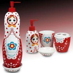 Ensemble salle de bain en ceramique MATRIOSHKA 4 accessoires, 18 cm 1184SG