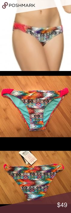 Macrame sides and bright multi color bottoms Phax in Colombia loves color!  Check out these sexy bottoms. Mix and match Phax Swim Bikinis