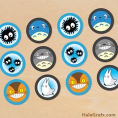 Free printable Totoro cupcake toppers for your party. 6 different Totoro toppers. Studio Ghibli, Anime Crafts, Baby Shower, My Neighbor Totoro, Nerd, Scrapbooking, Party Themes, Party Ideas, Cupcake Toppers