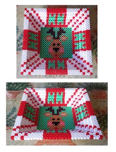 3D Square Christmas candy dish perler beads by Joanne Schiavoni