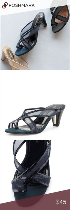 "Donald j Pliner velo mesh toe ring sandal Donald J Pliner sandal with mesh and patent leather upper. 2.3"" heel. Toe ring. Crisscross vamp. Patent leather piping. Contrast suede midsole. Leather/rubber outsole. Slip-on style. Donald J. Pliner Shoes Sandals"