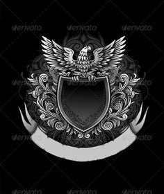 Eagle on Dark Shield Insignia - Backgrounds Decorative