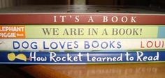 It's a book  We are in a book!  Dog loves books  How Rocket Learned to Read