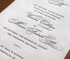 blacktie letterpress wedding invitation - monogram invitation design