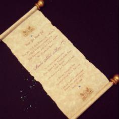 My scroll invitation for Niki's royal tea party