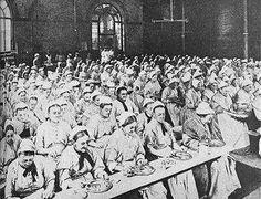 "Inside a workhouse, or known then as ""the house."" Victorian London."