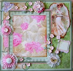 Beautiful Vinatage Lady Premade 12 x12 by whitebirdscrapper, $35.00