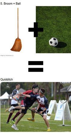 Broom + Ball = Harry Potter & Quidditch. #harrypotter