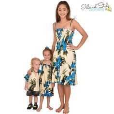 c22c05325f4c Gorgeous Cream & Blue Leaf - Matching Hawaiian Clothing for the whole  family. Cruising