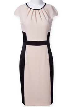 Apricot Black Cap Sleeve Slim Bodycon Dress