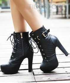 Platform Ankle Boots with Zipper