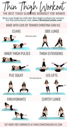 Best Thigh Exercises, Thigh Exercises For Women, Thigh Workouts At Home, Body Exercises, Exercises For Thinner Thighs, Gym Workouts, Best Body Weight Exercises, Band Workouts, Dumbbell Exercises