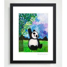 Panda sparkling matted print – Nettie Price Sparkling Art