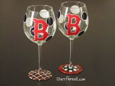 Boston Red Sox Wine Glass Hand Painted Red B and by StarrParnell, $25.00