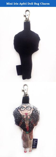 """Mini Iris Apfel Doll Bag Charm. Original watercolor painting illustration artwork by KahriAnne Kerr of Iris Apfel printed on Linen/Cotton Canvas with solid black linen back and filled with poly fiber fill to create a cute mini fashion doll. Black grosgrain loop and nickel lobster clasp to attach on your bag so you can take Mini Iris Apfel with you everywhere you go! 5"""" h doll."""