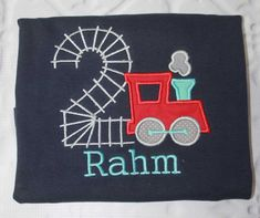Boys Train Birthday Shirt,Boys Birthday Shirt,Applique Embroidered Shirt Bodysuit